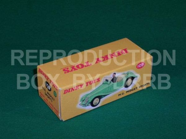 Dinky #102 MG Midget Sports - Reproduction Box ( Pale Green with Cream Seats )